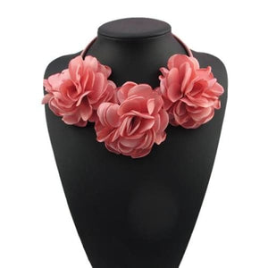 Fabric Flower Choker Necklace - Rose - Necklace