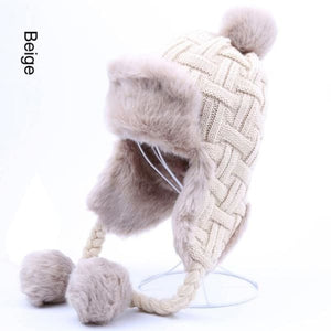 Faux Fur Trapper Hat With Pom Poms - Beige / One Size - Hat