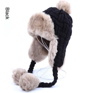 Faux Fur Trapper Hat With Pom Poms - Black / One Size - Hat