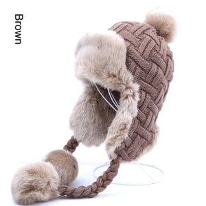 Faux Fur Trapper Hat With Pom Poms - Brown / One Size - Hat