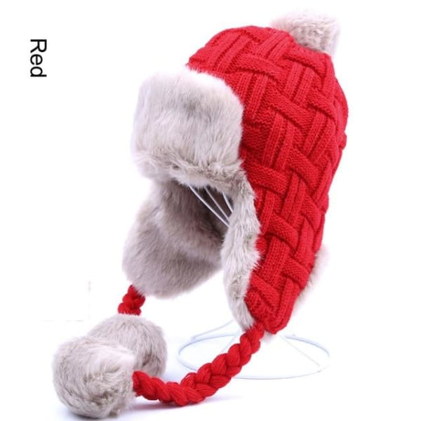 Faux Fur Trapper Hat With Pom Poms - Red / One Size - Hat