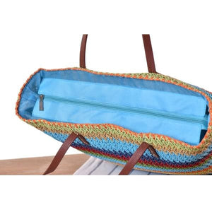 Large Colorful Straw Tote - bag