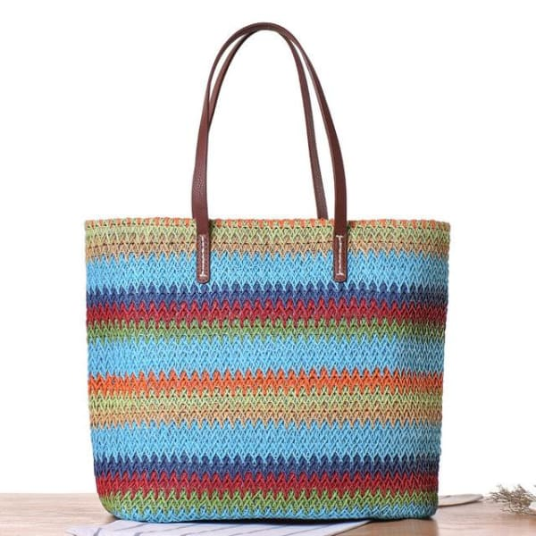 Large Colorful Straw Tote - Blue - bag