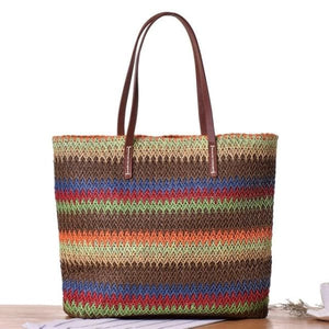 Large Colorful Straw Tote - Brown - bag