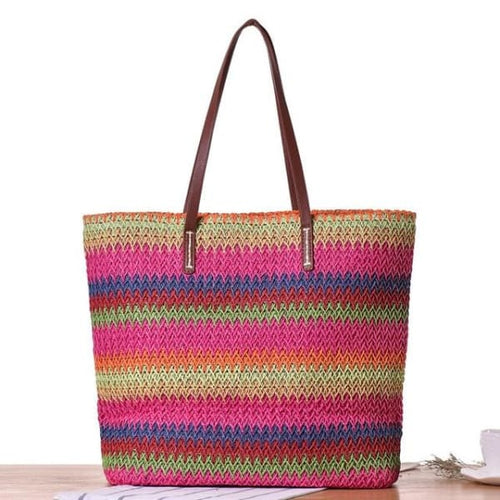 Large Colorful Straw Tote - Hot Pink - bag