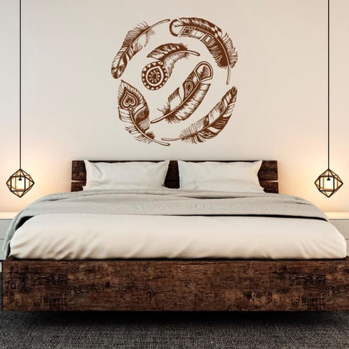 Large Feather Dream Catcher Wall Decal - Wall Decor