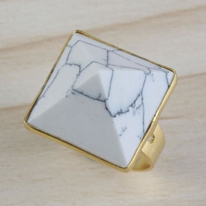 Light Yellow Gold Color White Turquoise Square Pyramid Ring - ring
