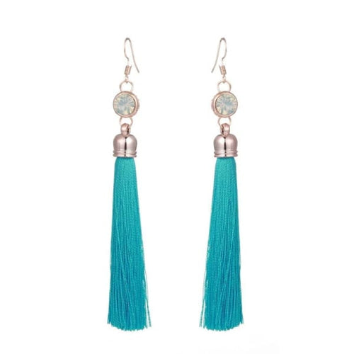 Long Tassel Drop Earrings With Crystal - earrings