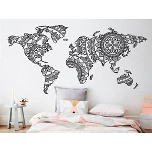 Mandala World Map Wall Sticker Decal - Wall Decor