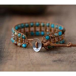 Natural Stone and Bead Wrap Bracelet - bracelet