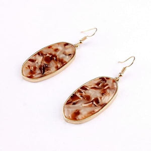 Natural Stone Oval Drop Earrings - Brown / Multicolour - earrings