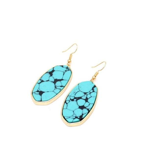 Natural Stone Oval Drop Earrings - Turquoise / Multicolour - earrings