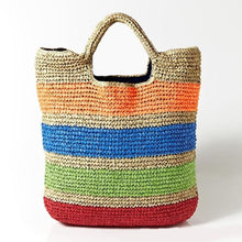 Load image into Gallery viewer, Oversized Colorful Straw Beach Tote - bag