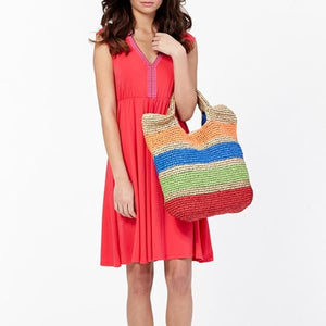 Oversized Colorful Straw Beach Tote - bag