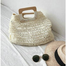 Load image into Gallery viewer, Oversized Straw Tote - beige - bag