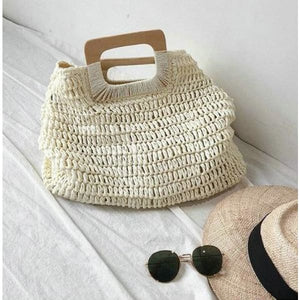 Oversized Straw Tote - beige - bag
