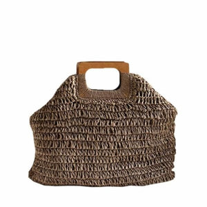 Oversized Straw Tote - deep brown - bag