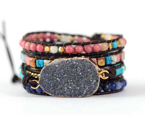 New Beginning Natural Stone and Beads Gilded Druzy Wrap