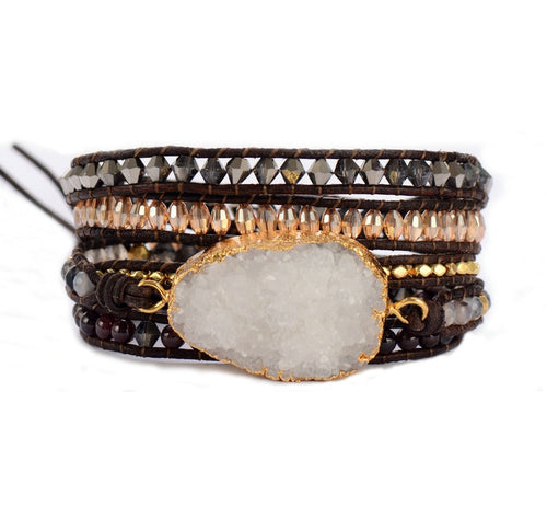Asana Druzy Charm Leather Wrap Bracelet