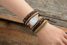 Load image into Gallery viewer, Asana Druzy Charm Leather Wrap Bracelet
