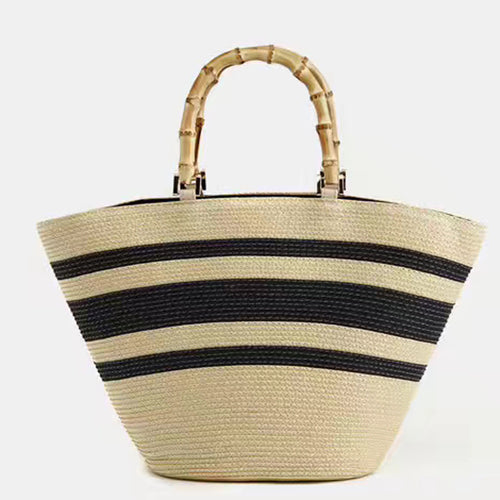 Straw Tote With Bamboo Handles