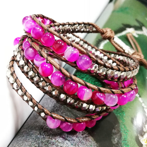 Etta Pink Onyx Agate And Leather Wrap Bracelet