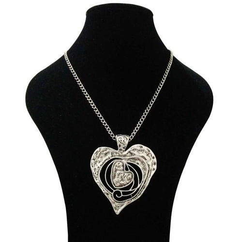 Abstract Metal Heart Pendant Necklace