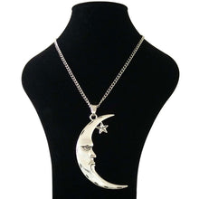 Load image into Gallery viewer, Abstract Crescent Moon and Star Necklace