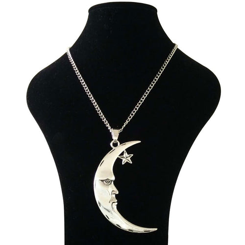 Abstract Crescent Moon and Star Necklace
