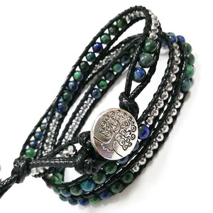 Tree Of Life 3 Row Natural Stone Leather Wrap Bracelet