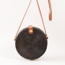 Load image into Gallery viewer, Boho Black Rattan Crossbody Bag