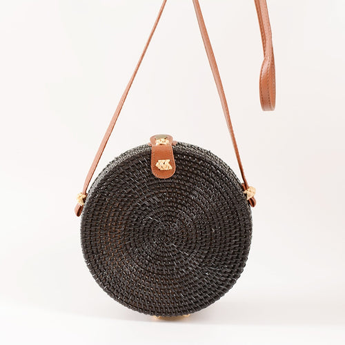 Boho Black Rattan Crossbody Bag