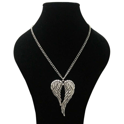 Large Guardian Angel Wings Charm Necklace