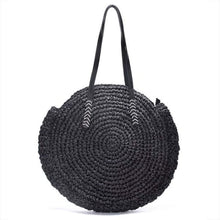 Load image into Gallery viewer, Round Straw Tote Bag - black - bag