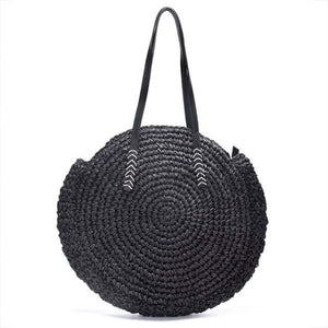 Round Straw Tote Bag - black - bag