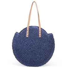 Load image into Gallery viewer, Round Straw Tote Bag - blue - bag
