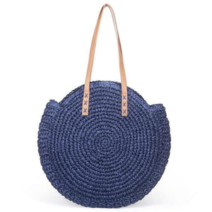 Round Straw Tote Bag - blue - bag
