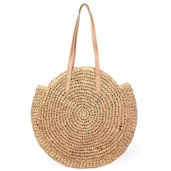 Round Straw Tote Bag - brown - bag