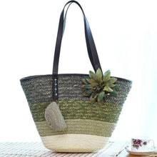 Load image into Gallery viewer, Snappy Straw Tote - Army green handbag - bag