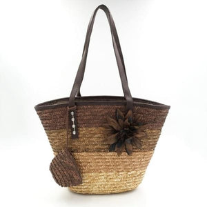 Snappy Straw Tote - Brown handbag - bag