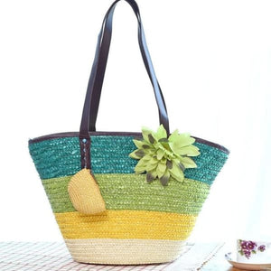 Snappy Straw Tote - Green handbag - bag