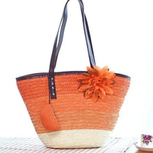 Load image into Gallery viewer, Snappy Straw Tote - Orange handbag - bag