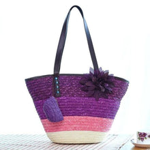 Load image into Gallery viewer, Snappy Straw Tote - Purple handbag - bag