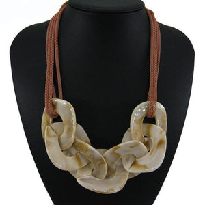 Statement Resin Necklace - cream / Blue / 50cm - Necklace