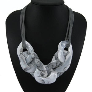 Statement Resin Necklace - gray white / Blue / 50cm - Necklace