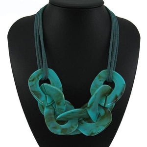Statement Resin Necklace - green / Blue / 50cm - Necklace