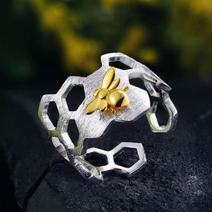 Sterling Silver Honeycomb Open Ring - Resizable / Rear Glossy Finish - Rings