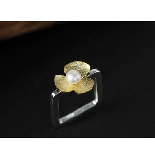 Sterling Silver Natural Pearl Square Ring - 6.5 / White - ring