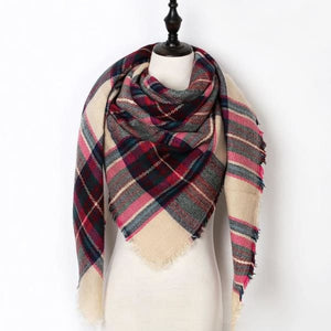 Stunning Plaid Cashmere Blend Scarf - number 04 - scarf