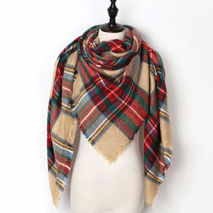 Stunning Plaid Cashmere Blend Scarf - number 16 - scarf